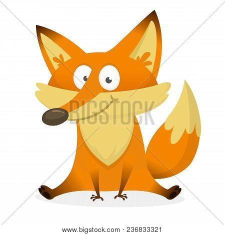 Vector Illustration Of Cute Fox Cartoon. Character Design
