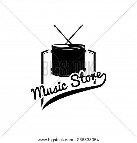 Drum Icon. Music Store Logo Emblem Label. Musical Instrument. Vector Illustration