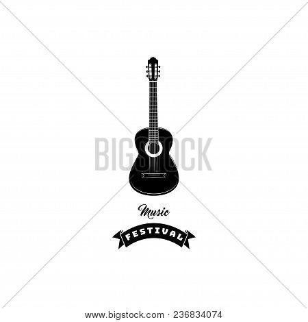 Guitar Icon. Music Festival Logo Emblem Label. Musical Instrument. Vector Illustration