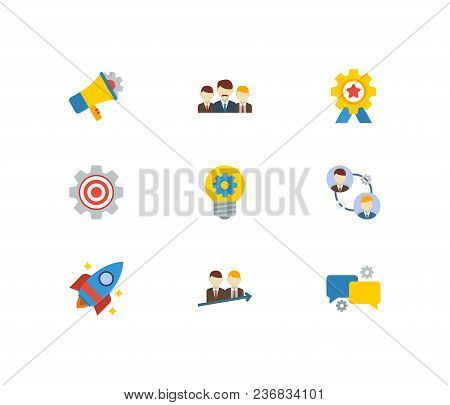 Technology Cooperation Icons Set. Teamwork And Technology Cooperation Icons With Technical Collabora