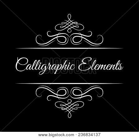 Calligraphic Elements. Vintage Floral Swirly Dividers. Retro Book Separators. Antique Design Element
