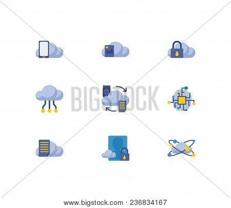 Cloud Service Icons Set. Artificial Intelligence And Cloud Service Icons With Image Storage, File St
