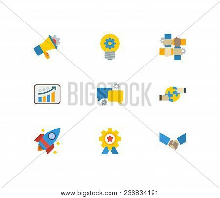 Technology Partnership Icons Set. Handshake And Technology Partnership Icons With Achievement, Start
