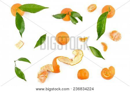 Top view of mandarins with leaves isolated on white background