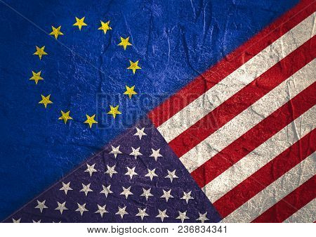 Image Relative To Politic Relationships Between Usa And European Union. Usa And Europe Grunge Style