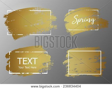Vector Gold Paint Stroke With Border Frame. Dirty Artistic Design Element, Box, Frame Or Background