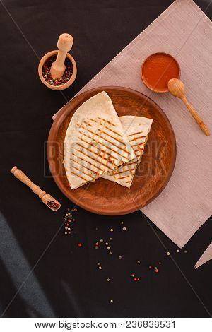 Quesadilla Mexican Food. Mexican Cuisine Quesadilla For Breakfast. Close Up. Top View