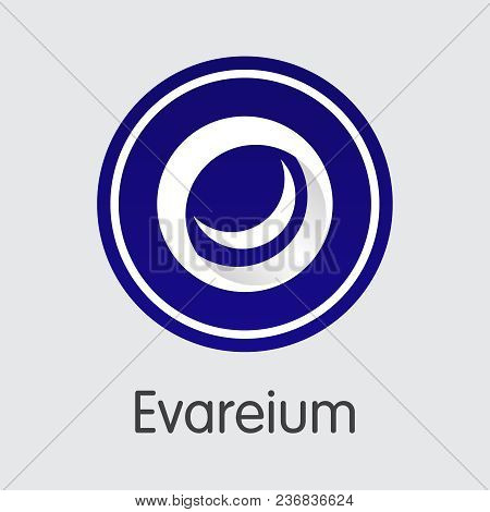 Blockchain Cryptocurrency Evareium. Net Banking And Evm Mining Vector Concept. Digital Currency Mini