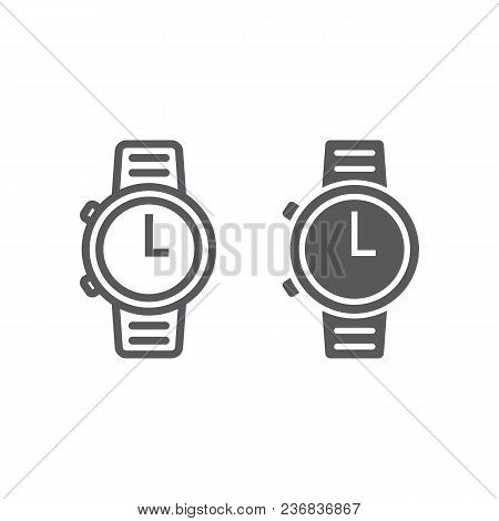 Watch Line And Glyph Icon, Clock And Time, Starp Sign Vector Graphics, A Linear Pattern On A White B