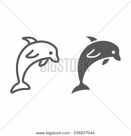 Dolphin Line And Glyph Icon, Animal And Underwater, Aquatic Sign Vector Graphics, A Linear Pattern O