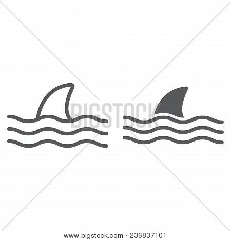 Shark Line And Glyph Icon, Animal And Underwater, Aquatic Sign Vector Graphics, A Linear Pattern On