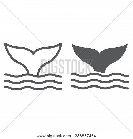Whale Tail Line And Glyph Icon, Animal And Underwater, Aquatic Sign Vector Graphics, A Linear Patter