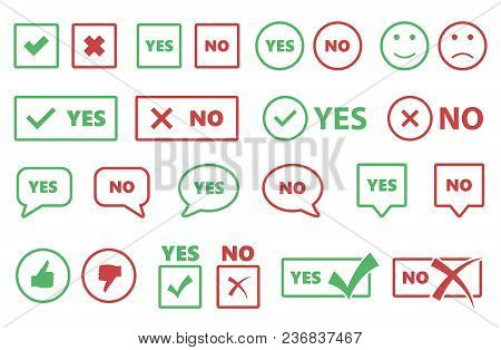 Yes Or No Icons, Tick And Cross Signs, Checkmarks Set