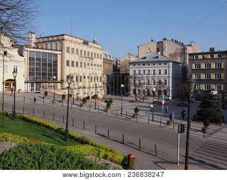 Bielsko-biala, Poland Europe On April 2018: Representative Buildings At Main Square In Historical Ci