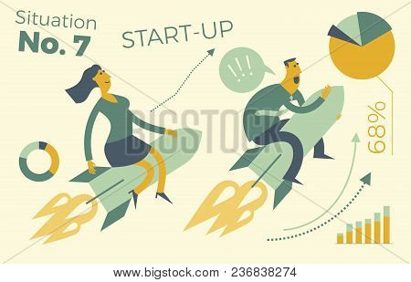 Business Infographics With Illustrations Of Business Situations. A Man And A Woman Flying A Rocket U