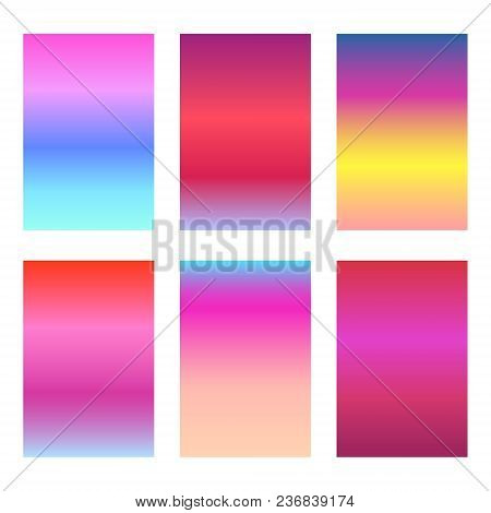 Set Of Bright Sunset Red And Pink Ui Backgrounds. Trendy Vibrant Sunrise Gradients For Smartphone Sc