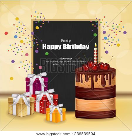 Party Invitation Card With Giftbox, Cake And Balloons Vector. Happy Birthday Text. Celebrate Events