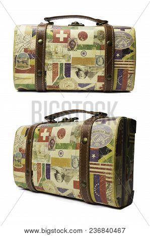 Nikolaev, Ukraine - April 19, 2018: Cute Isolated Tourist Retro Suitcase For Travelling. Front And A