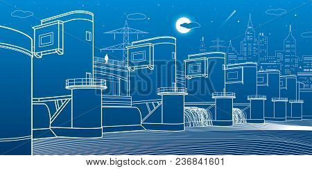 Hydro Power Plant. River Dam. Energy Station. City Infrastructure Industrial Illustration. White Lin
