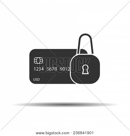 Locked Bank Card Vector Sign. Credit Card With Lock Icon.