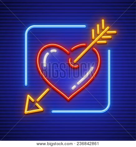 Heart Stricken By Gold Arrow. Neon Icon For Sign. Love Symbol Made Of Neon Lamps With Illumination.