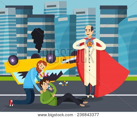 Superhero Urban Flat Background With Teenager After Road Accident As Result Of Dashing Drive Cartoon