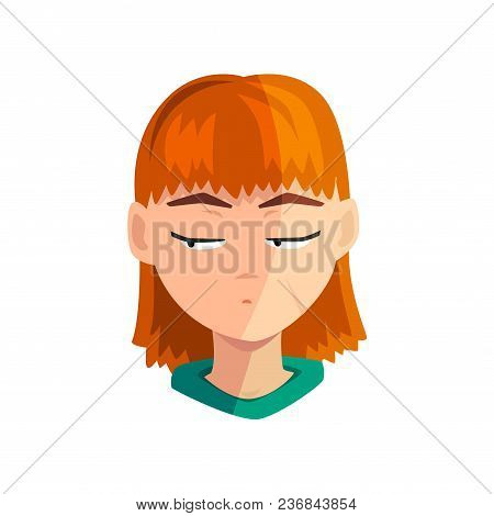 Shy Redhead Girl, Female Emotional Face, Avatar With Facial Expression Vector Illustration Isolated