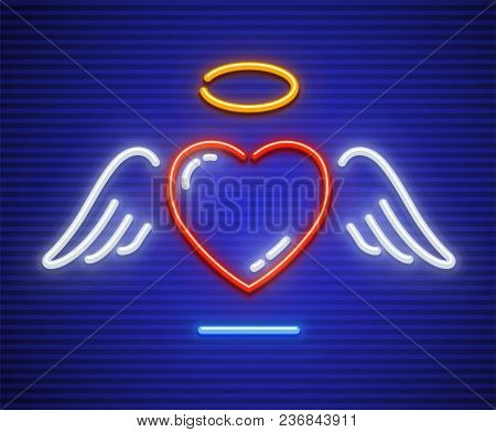 Love Heart With Winglets And Gold Nimbus. Neon Icon. Sign With Illumination Of Neon Lamps. Eps10 Vec