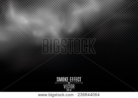 Thick Smoke On A Transparent Dark Background. Light Mist. Smoke From The Fire. Thick Cloud. Steam On