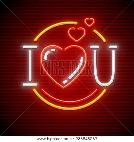 I Love You Message Made Of Heart Symbols. Neon Sign. Icon Of Neon Lamps With Illumination. Eps10 Vec