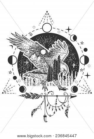 Vector Eagle Tattoo Or T-shirt Print Design. Eagle Combined With Nature, Geometric Pattern, Moon Pha