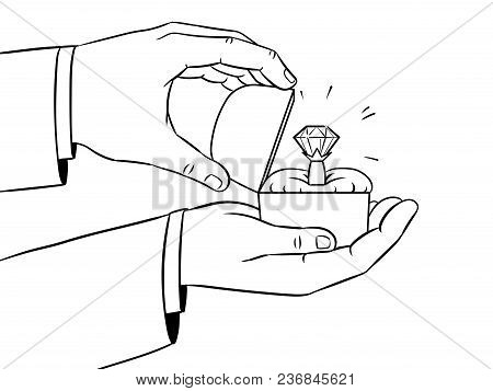 Hands With Precious Diamond Ring Coloring Retro Vector Illustration. Marriage Proposal Metaphor. Iso