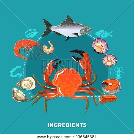 Sushi Ingredients Composition With Carcasses Of Sea Inhabitants From Which Make Sushi Vector Illustr