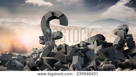 Broken concrete stone with money pound symbol in cityscape