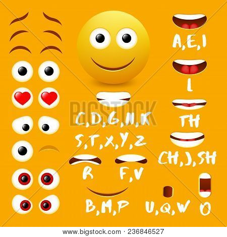Male Emoji Mouth Animation Vector Design Elements. Lip Sync Mouth Shapes For Animation And Eyes, Eye