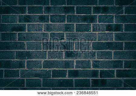 Dark Turquoise Brick Wall Texture. Brickwork Grunge Background