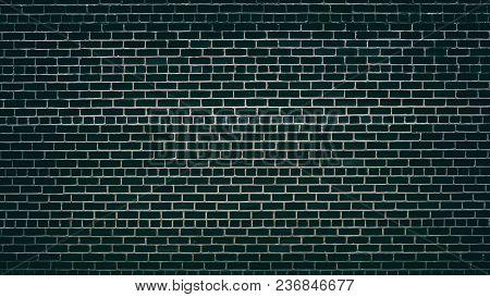 Emerald Black Brick Wall With Convex Mortar Joints. Dark Brickwork Texture. Grunge Background