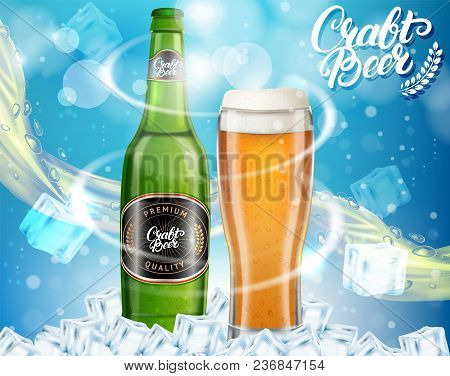 Vector Realistic Dark Craft Beer Alcoholic Drink Brand Glass Bottle And Glass Of Beer On Blue Sparkl