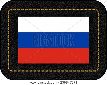 Flag Of Russia. Vector Icon On Black Leather Backdrop