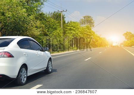 Car Driving On High Way Road,car A Lot On The Road