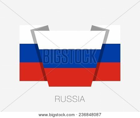 Flag Of Russia. Flat Icon Waving Flag With Country Name