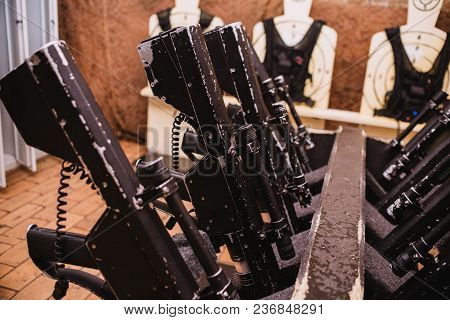 Close Up On Military Equipment On Laser Tag Game