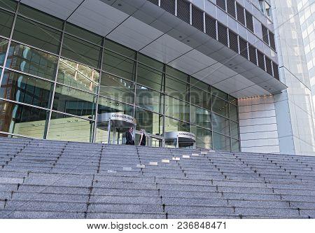 Frankfurt, Germany-april 18, 2018: Entrance Of The Commerzbank Ag Headquarters In Frankfurt Am Main,