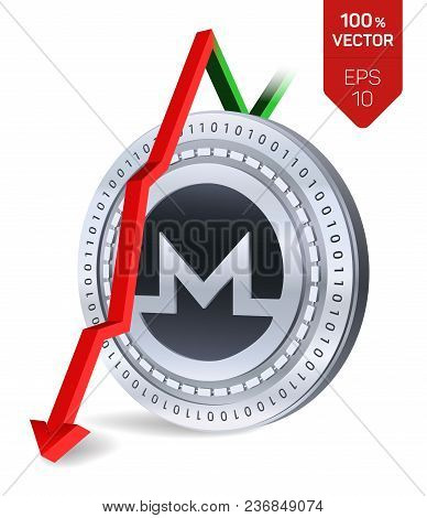 Monero. Fall. Red Arrow Down. Monero Index Rating Go Down On Exchange Market. Crypto Currency. 3d Is