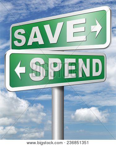 Saving plan bank deposit spend or save money 3D, illustration