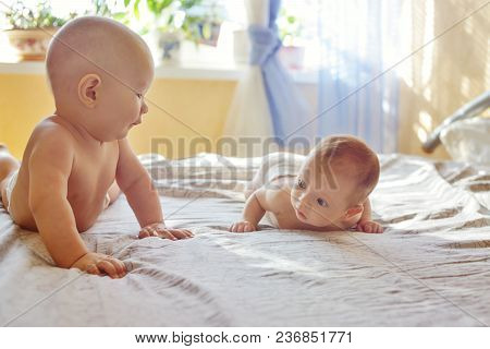 Two Funny Siblings On The Bed In Bedroom