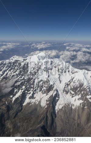 Aerial View Of Huayna Potosi. The Cordillera Real Is A Mountain Range In The South American Altiplan
