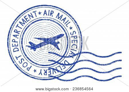 Air Mail Round Postmark With Waves. Vector Illustration Isolated On White Background