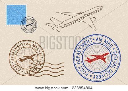 Postmarks And Postal Elements On Beige Background. Vector Illustration