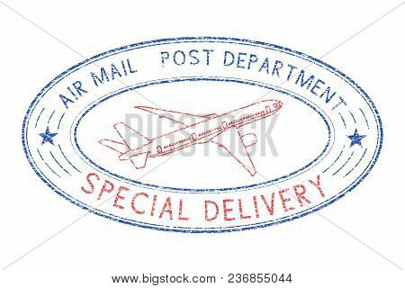 Oval Postmark With Plane. Blue And Red Stamp For Envelopes. Vector Illustration Isolated On White Ba